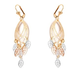 Peermont Jewelry 18k Goldplated Triple Tone Leaf Cut-out Drop Earrings