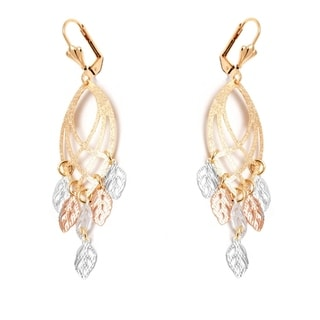 18k Goldplated Triple Tone Leaf Cut-out Drop Earrings