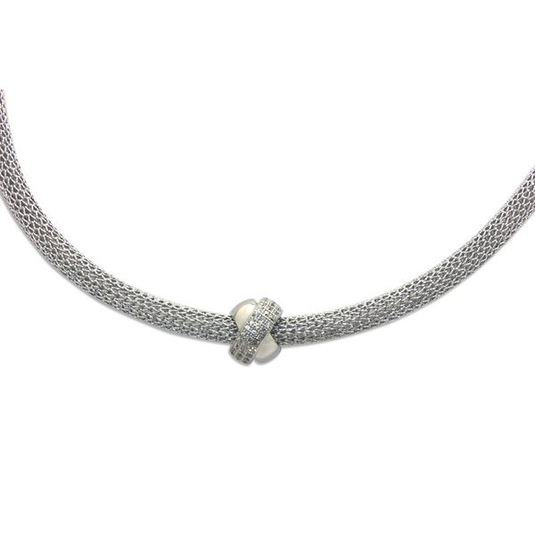 Sterling Silver Cubic Zirconia Knotted Ball Mesh Necklace