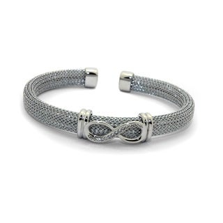 Sterling Silver Cubic Zirconia Infinity Mesh Cuff Bangle