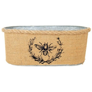 Tin and Burlap Container with Bumble Bee Embellishment