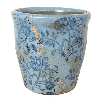 Blue Ceramic Vase with Floral Design