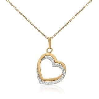 14K Two-tone Gold Open Heart CZ-encrusted Pendant