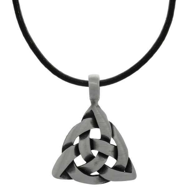 Pewter Celtic Triangle Knot Pendant on Black Leather Necklace 15158370