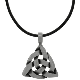 CGC Pewter Celtic Triangle Knot Pendant on Black Leather Necklace