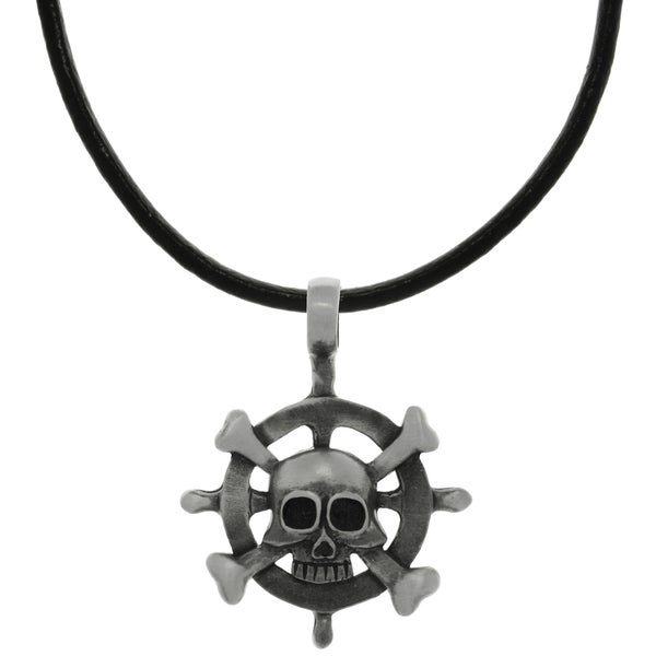 Pewter Captains Wheel Pendant on Black Leather Necklace 15158371