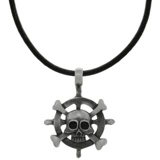 Carolina Glamour Collection Pewter Captains Wheel Pendant on Black Leather Necklace