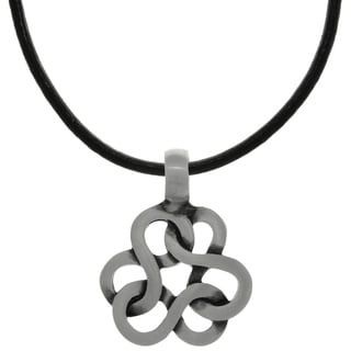 CGC Pewter Celtic Infinity Knot Trinity Pendant on Black Leather Necklace