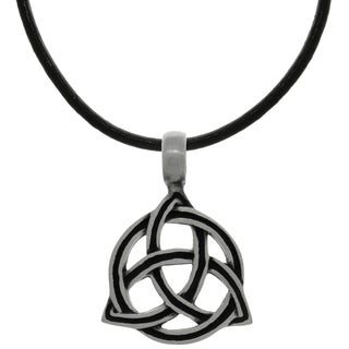 CGC Pewter Celtic Circle of Life Trinity Knot on Black Leather Necklace