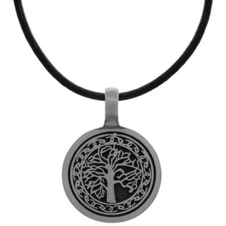 CGC Pewter Celtic Knot Tree of Life Pendant on Black Leather Necklace