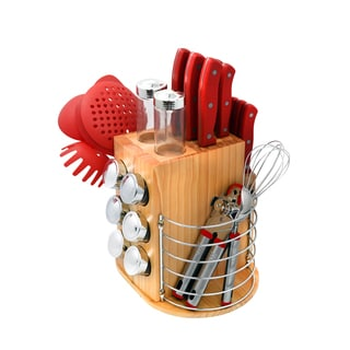 PL 31pc Carousel Knife Set Red