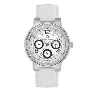 Giorgio Milano Women's Luxury Leather Watch with Swarovski Crystals
