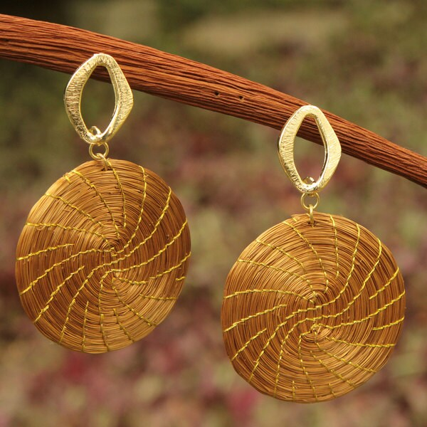 Gold Overlay 'Sublime Nature' Golden Grass Earrings (Brazil)