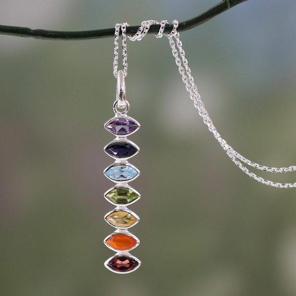 Sterling Silver 'Chakra Balance' Multi-gemstone Necklace (India)