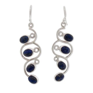 Handcrafted Sterling Silver 'Lotus Buds' Lapis Lazuli Earrings (India)