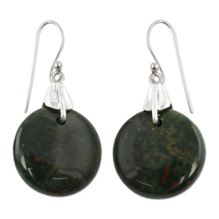 Sterling Silver 'Moon of Justice' Bloodstone Earrings (India)