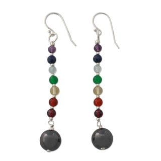 Sterling Silver 'Gratitude' Multi-gemstone Earrings (India)