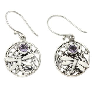 Sterling Silver 'Wild Dragonfly' Amethyst Earrings (Indonesia)