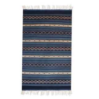 Zapotec Wool 'Magical Copalitilla Waterfall' Rug 2x3.5 (Mexico)