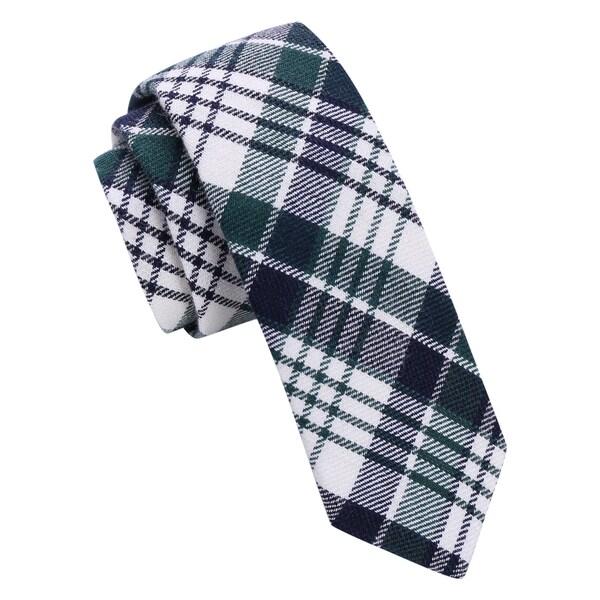 Skinny Tie Madness Mens Green Plaid Skinny tie