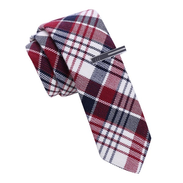 Skinny Tie Madness Men's Red Plaid Skinny tie with Tie Clip
