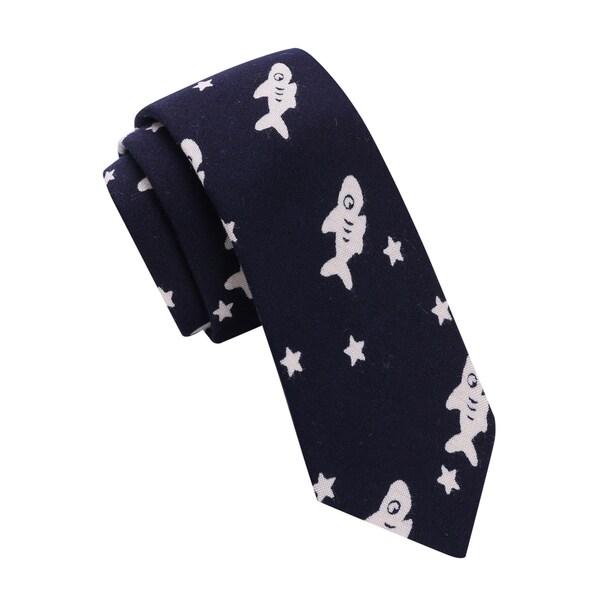 Skinny Tie Madness Men's Navy Fish Print Skinny Tie