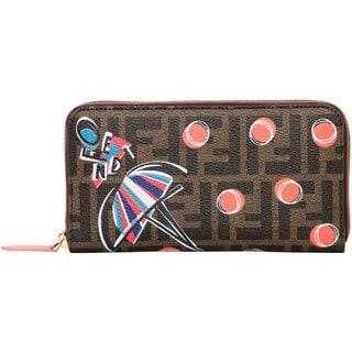 Fendi Girl-Print Zucca Zip Wallet