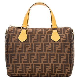 Fendi Zucca Contrast-Trim Fabric Boston Bag