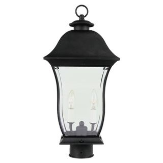 Cambridge Black Finish Outdoor Post Head With A Beveled Shade