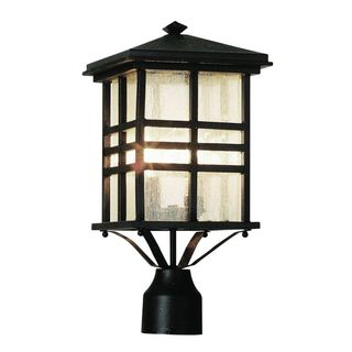 Cambridge Black Finish Outdoor Post Head With A Seeded Shade