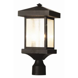 Cambridge Weathered Bronze Finish Outdoor Post Head With A Seeded Shade
