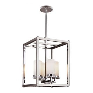 Cambridge Polished Chrome Finish Pendant With White Shades