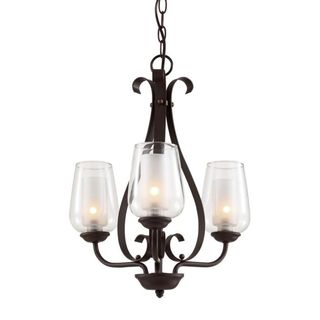 Cambridge Rubbed Oil Bronze Finish Pendant With Frosted Shades