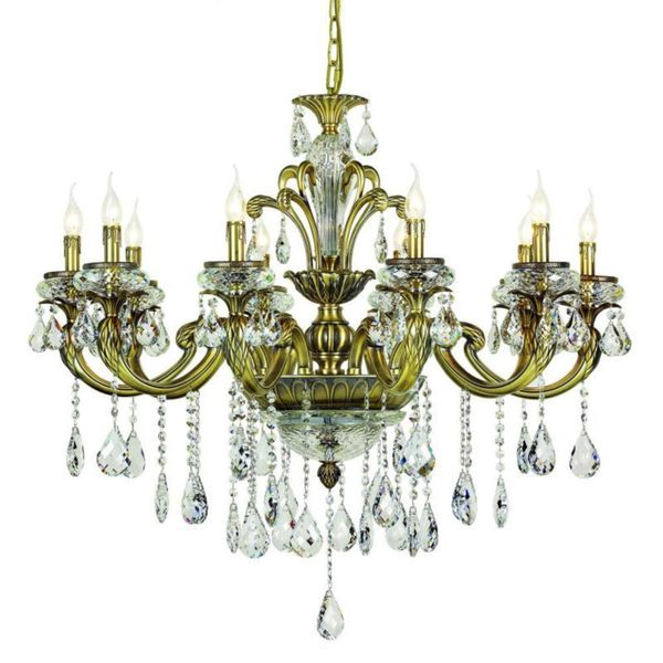 Cambridge 10-Light Antique Brass 40 in. Chandelier