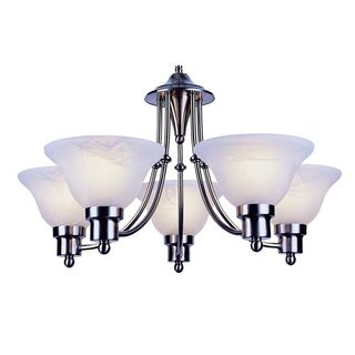 Cambridge 5-Light Brushed Nickel 16 in. Chandelier with White Glass