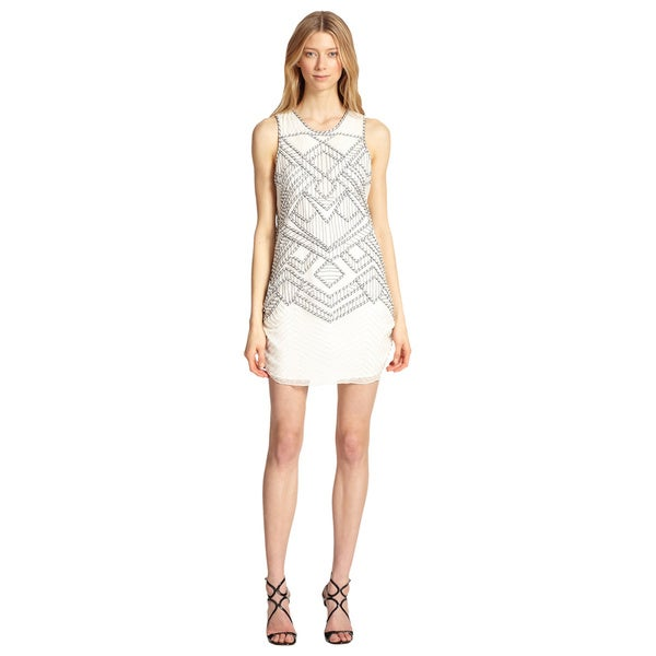 Parker White Allegra Silk Beaded Embroidered Party Dress