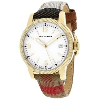 Burberry Women's BU7853 Utilitarian Round House Check Pattern Strap Watch