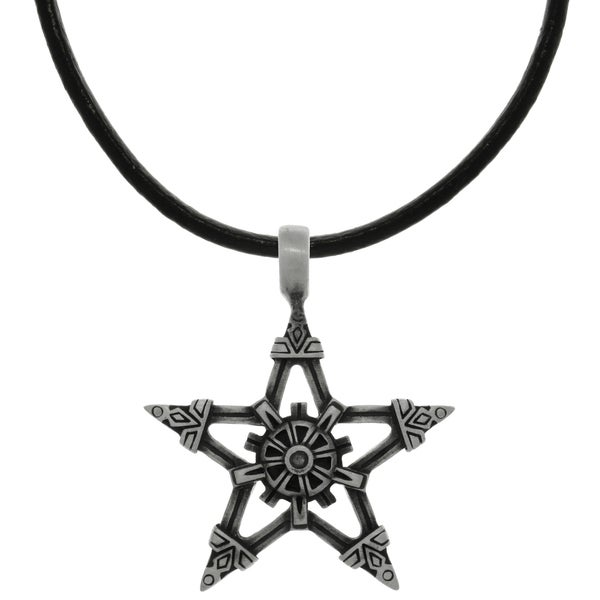 CGC Pewter Viking Star Pendant on Black Leather Necklace