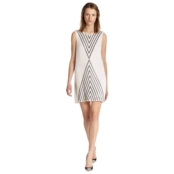 Parker White Alexa Monochrome Pattern Silk Beaded Cocktail Dress