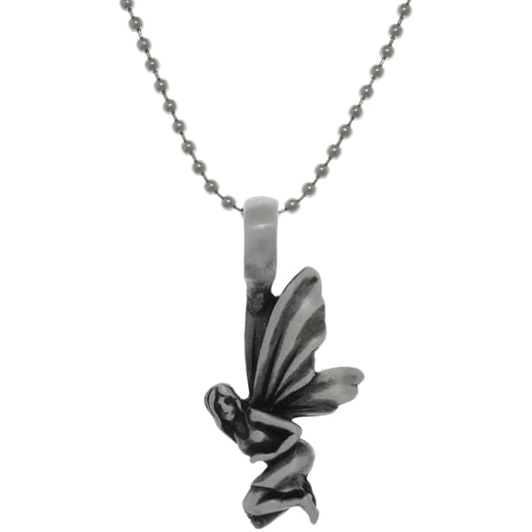Pewter Fairy Wings Pendant on Steel Ball Chain Necklace 15160473
