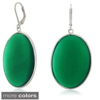 Gioelli Sterling Silver Oval Gemstone Dangle Earrings