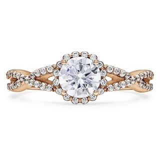 10k Gold Cubic Zirconia Infinity Halo Engagement Ring