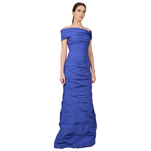 Teri Jon Off-shoulder Blue Ruched Fitted Formal Dress