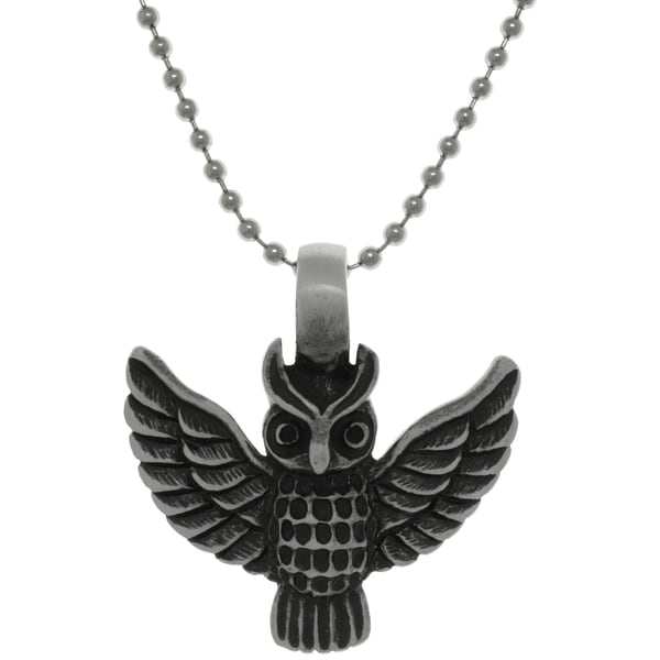 Pewter Barn Owl Pendant on Steel Ball Chain Necklace 15160557