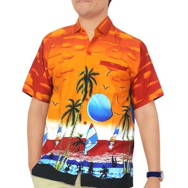 La Leela Orange Likre Sunset Aloha Surf Beach Men's Hawaiian Shirt Swim Camp