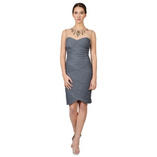Adrianna Papell Gray Sleeveless Jeweled Ruched Cocktail Dress