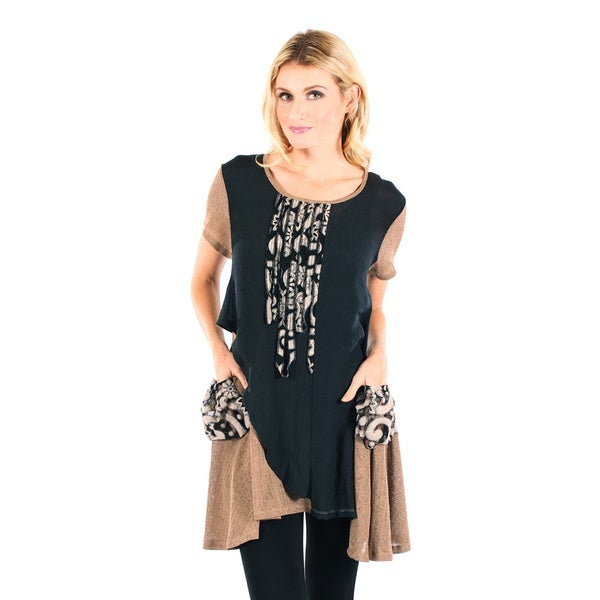 Firmiana Womans Short Sleeve Black and Brown Top with Pocket and Side Tail