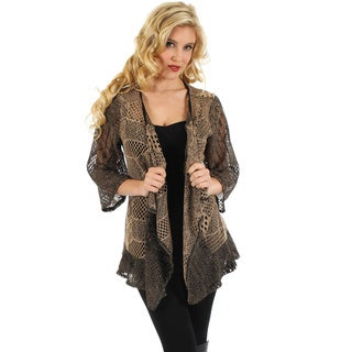 Womans 3/4 Sleeve Mocha Crocheted Open Front Cardigan with Tieback