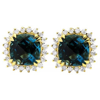Beverly Hills Charm 10k Yellow Gold Blue Topaz 1/6ct TDW Diamond Halo Stud Earrings (H-I, I2-I3)