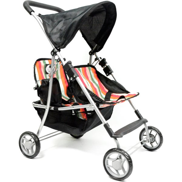 The New York Doll Collection Twin Stroller with Stripes